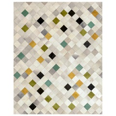 Green, Gray, Mustard Falling Squares Customizable Cowhide Area Floor Rug Large