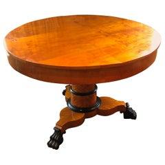 Striking Antique Biedermeier Round Center Hall or Side Table