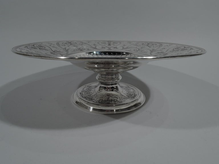 Art Nouveau Striking Antique Tiffany Sterling Silver Classical Centrepiece Compote For Sale
