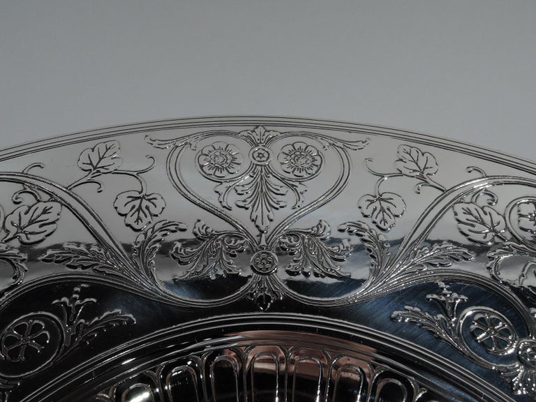 Striking Antique Tiffany Sterling Silver Classical Centrepiece Compote In Excellent Condition For Sale In New York, NY