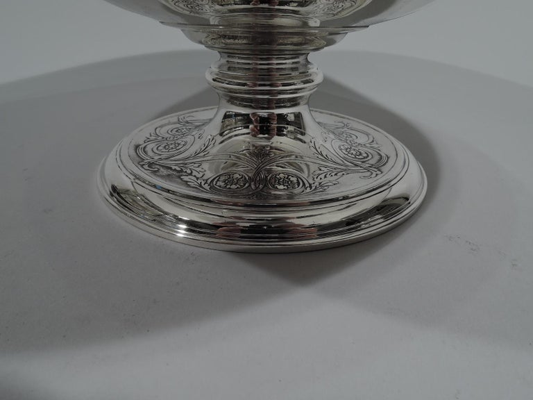 Striking Antique Tiffany Sterling Silver Classical Centrepiece Compote For Sale 1