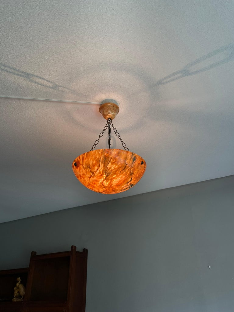 Striking Art Deco Flushmount / Pendant with Matching Alabaster Shade and Canopy 3