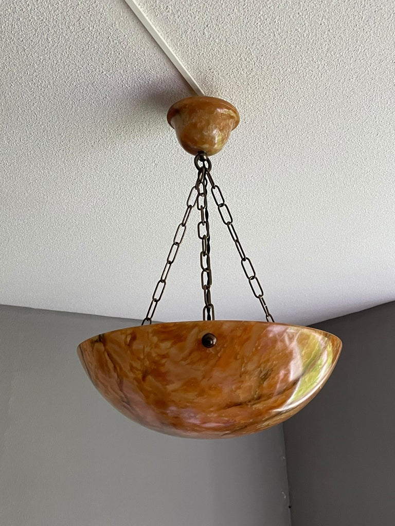 Striking Art Deco Flushmount / Pendant with Matching Alabaster Shade and Canopy 7