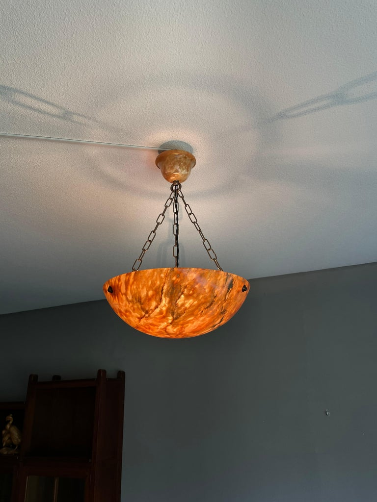 Striking Art Deco Flushmount / Pendant with Matching Alabaster Shade and Canopy 8
