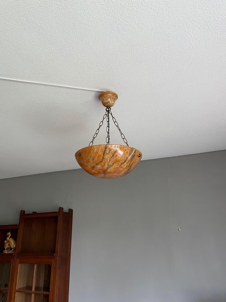 Striking Art Deco Flushmount / Pendant with Matching Alabaster Shade and Canopy 2