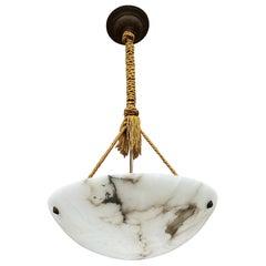 Striking Art Deco Moon Shape Pendant Light or Chandelier with Original Rope