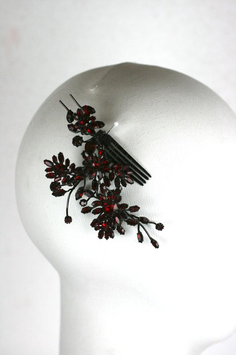 Striking Austrian Ruby Crystal Trembler Flower Hair Comb For Sale 5