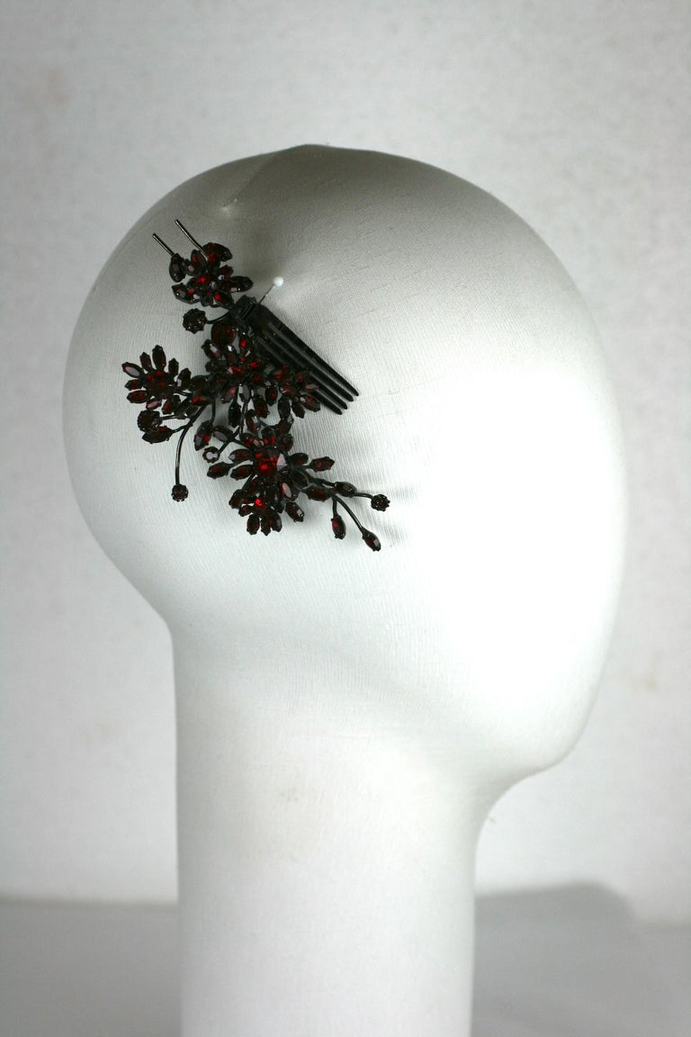 Striking Austrian Ruby Crystal Trembler Flower Hair Comb For Sale 6