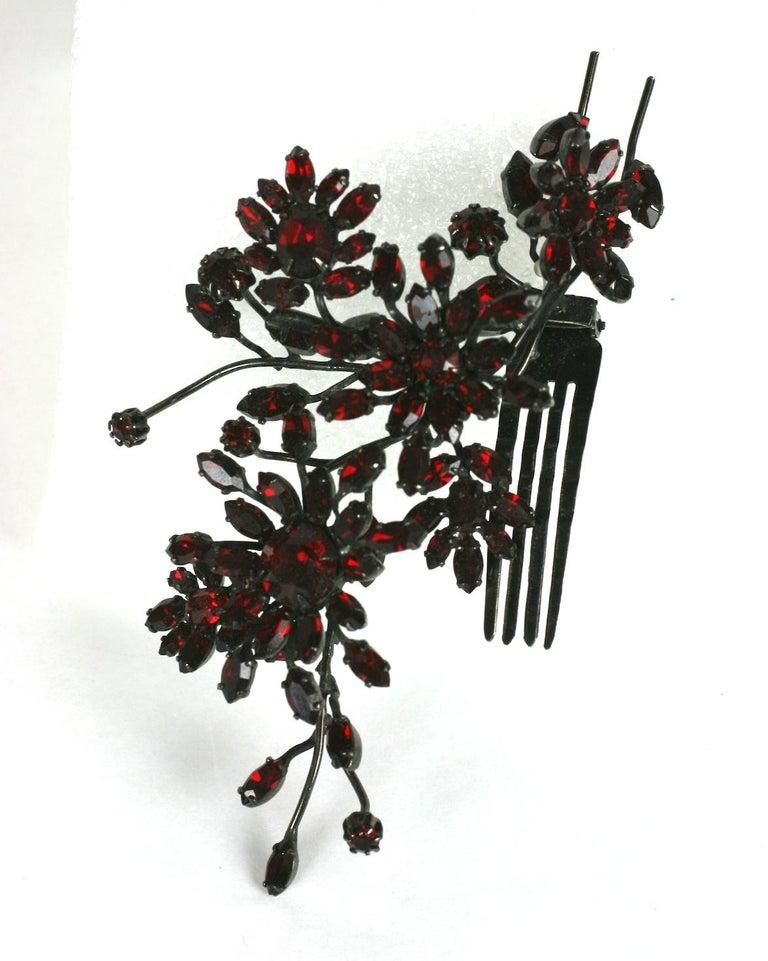 Black Striking Austrian Ruby Crystal Trembler Flower Hair Comb For Sale