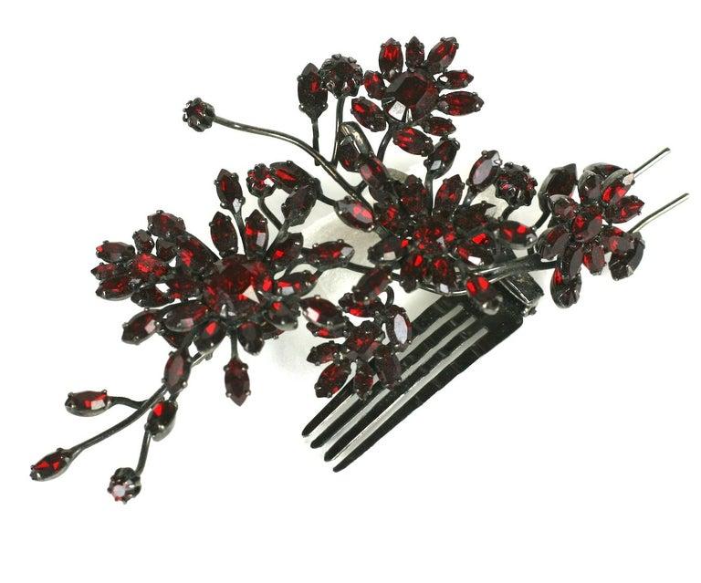 Women's Striking Austrian Ruby Crystal Trembler Flower Hair Comb For Sale