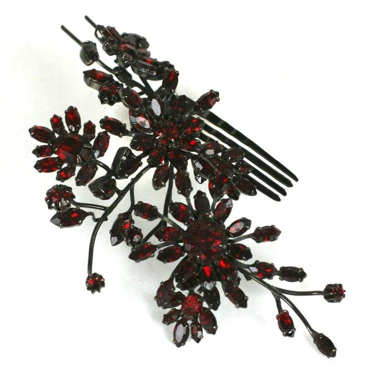 Striking Austrian Ruby Crystal Trembler Flower Hair Comb For Sale 1