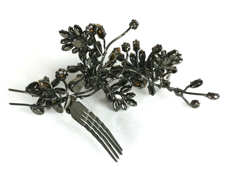Striking Austrian Ruby Crystal Trembler Flower Hair Comb For Sale 2