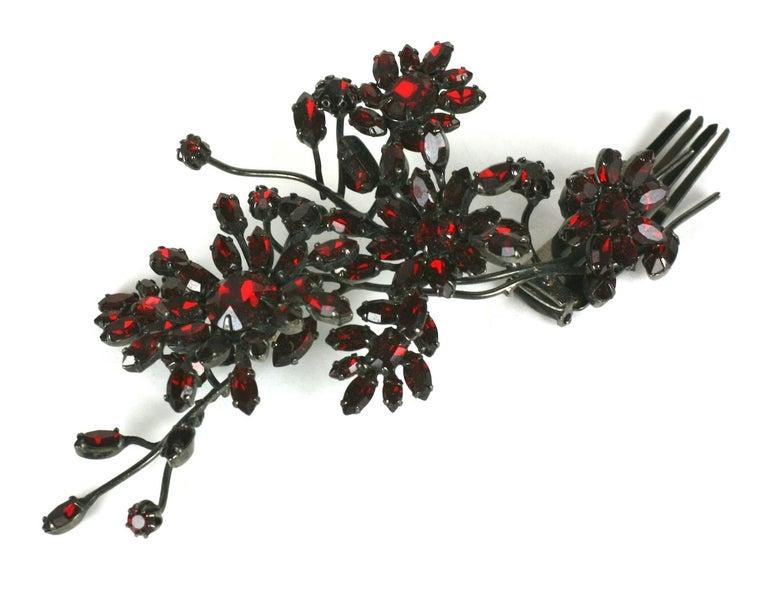 Striking Austrian Ruby Crystal Trembler Flower Hair Comb For Sale 3
