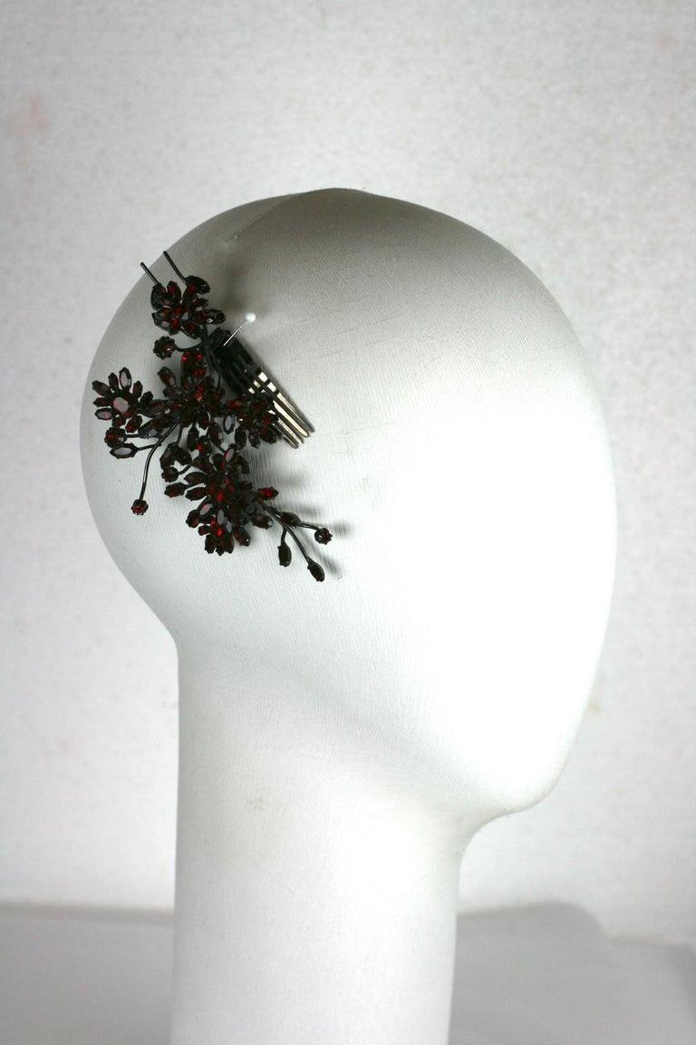 Striking Austrian Ruby Crystal Trembler Flower Hair Comb For Sale 4