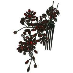 Striking Austrian Ruby Crystal Trembler Flower Hair Comb