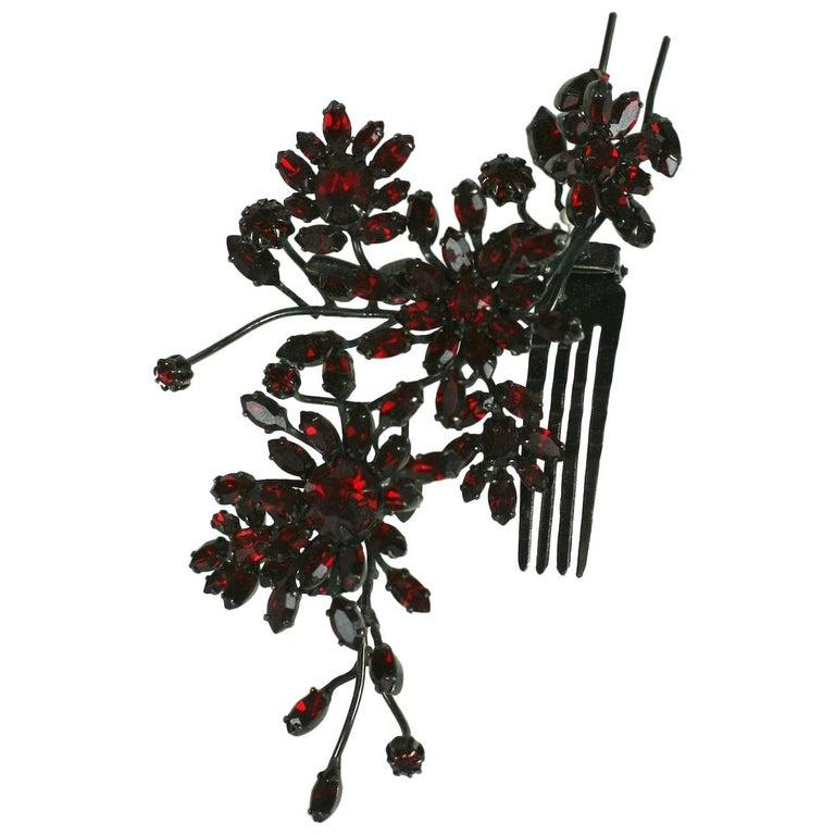 Striking Austrian Ruby Crystal Trembler Flower Hair Comb For Sale