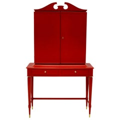 Striking Bar Cabinet in Scarlet Lacquer by Paolo Buffa