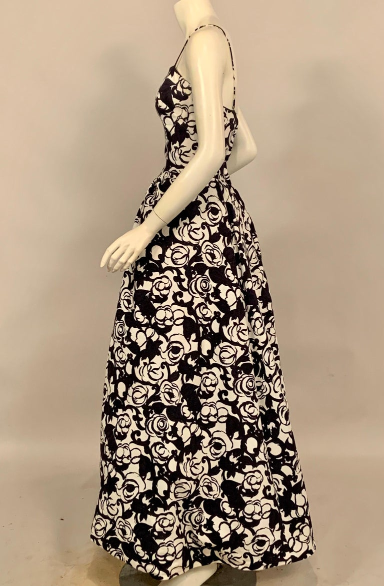 Striking Black and White Floral Print Cotton Pique Evening Gown by Will Steinman For Sale 1