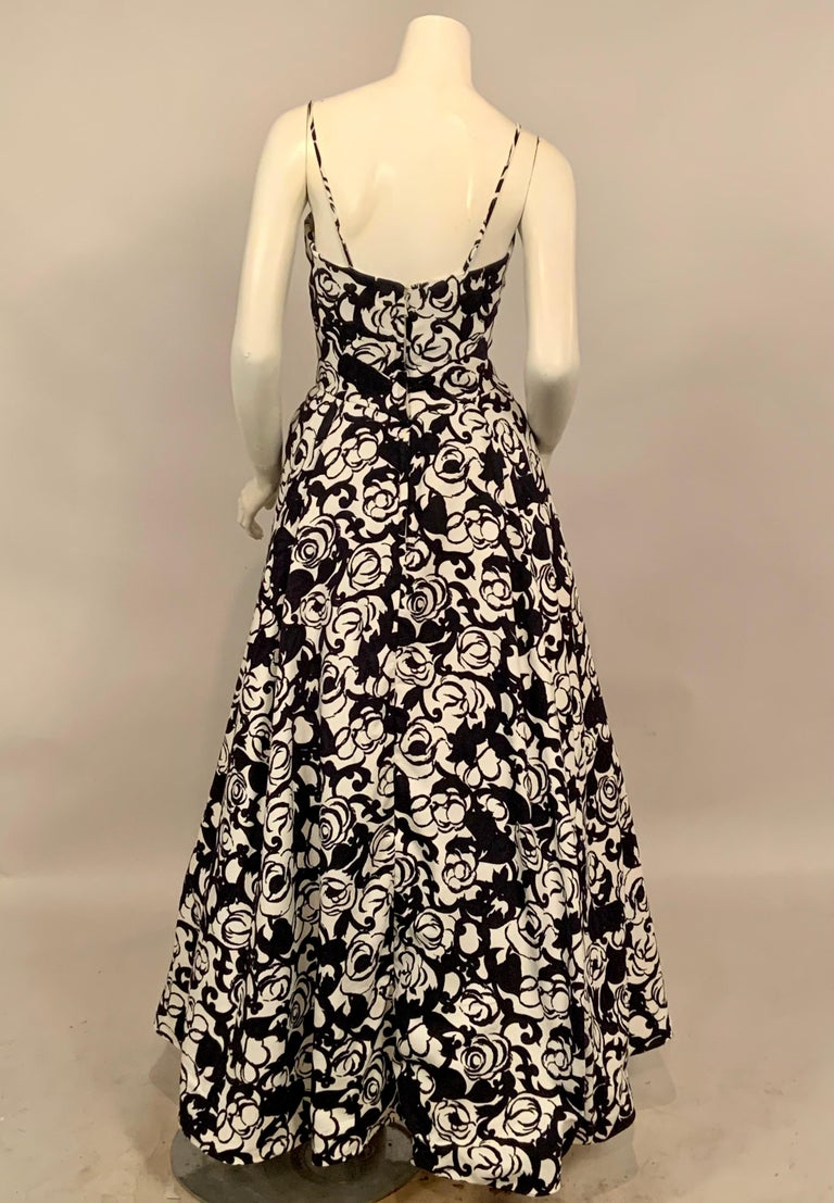 Striking Black and White Floral Print Cotton Pique Evening Gown by Will Steinman For Sale 2