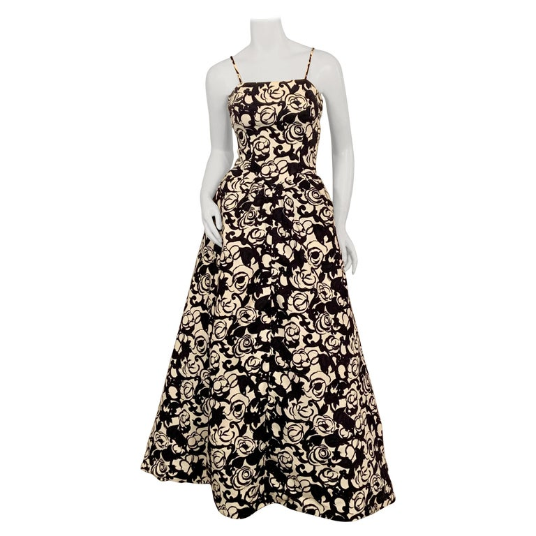 Striking Black and White Floral Print Cotton Pique Evening Gown by Will Steinman For Sale