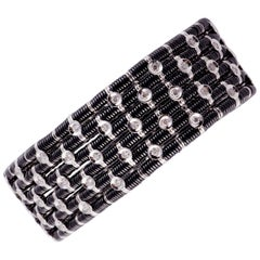 Striking Black Ceramic, 18 Karat White Gold and Diamond Stretch Bracelet