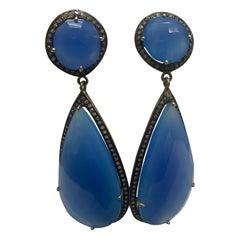 Blue Agate Champagne Diamonds Sterling Silver Earrings