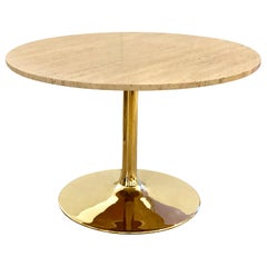 Striking Brass-Plated and Italian Marble Dinning Table by Chrome Craft