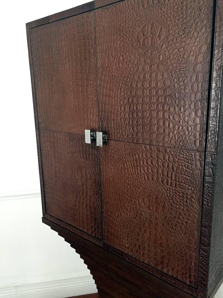 Striking British Moderne Leather Dry Bar For Sale 1