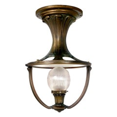 Striking Bronze Art Nouveau Holophane Railroad Ceiling Lamp