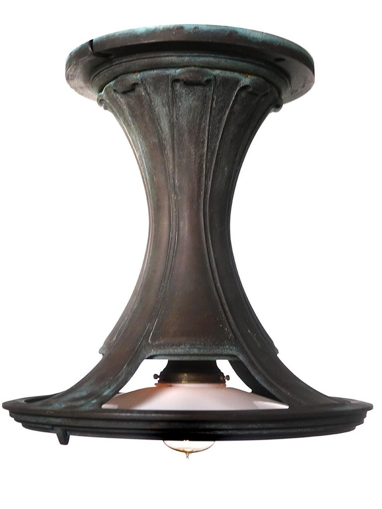 Striking Bronze Art Nouveau Railroad Ceiling Lamp In Good Condition For Sale In Peekskill, NY