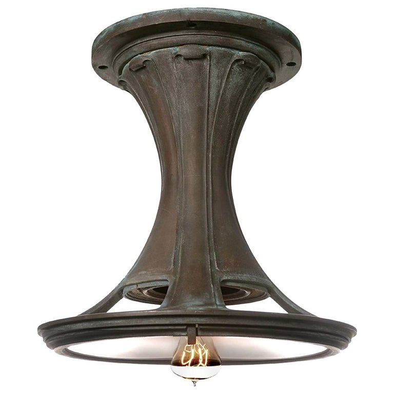 Striking Bronze Art Nouveau Railroad Ceiling Lamp For Sale