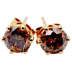 Striking 2.15 Carat Brown Diamond and Yellow Gold Stud Earrings