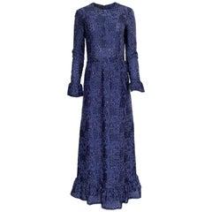 Striking c1971 Givenchy Blue Metallic Detailed Silk Net Ruffled Dress