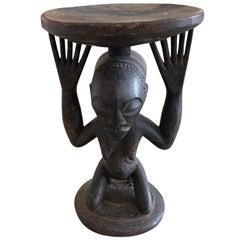 Striking Carved Wood African Figural Small Accent Table