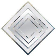 Striking Chrome, Glass & Beveled Wall Mirror Space Age Era