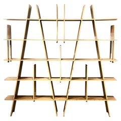 Striking Contemporary Large Wall Unit in Walnut Finish by Figuron