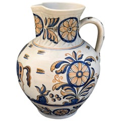 Striking Continental Glazed Earthenware Blue and Yellow Painted Urn, Talavera