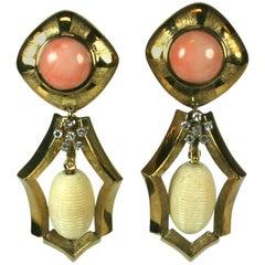 Striking Coral, Bone and Diamond Pendant Earrings