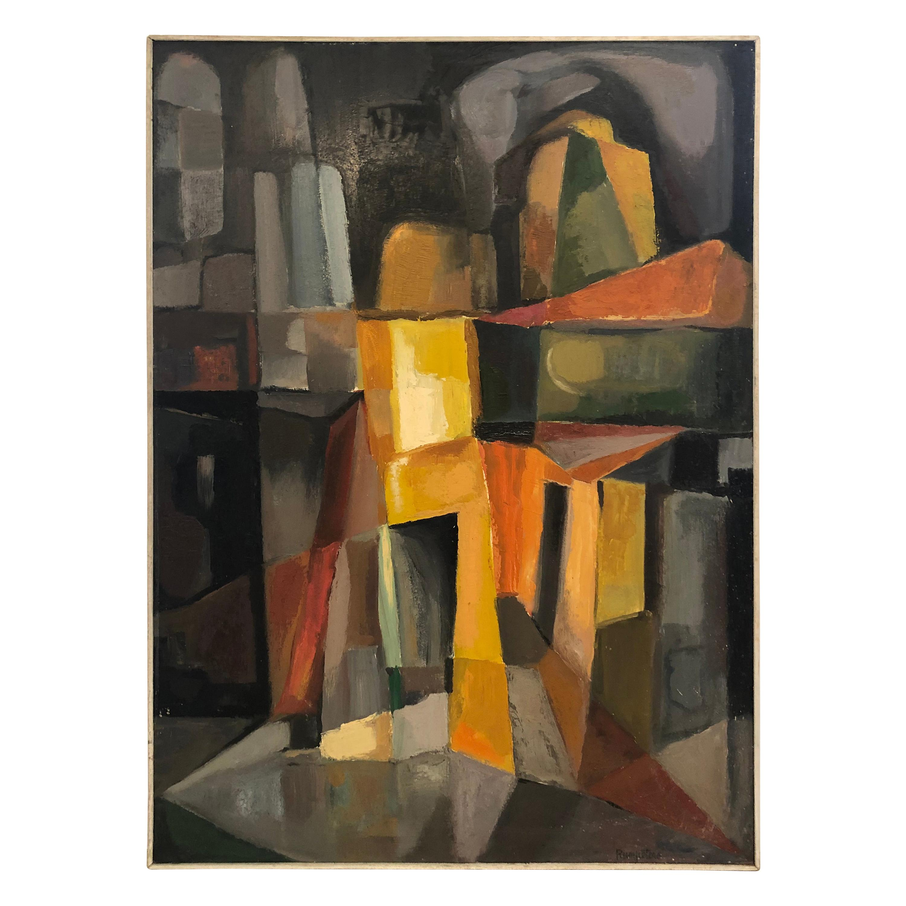 Striking Cubist Abstract Painting in Orange, Yellow, Grey and Black