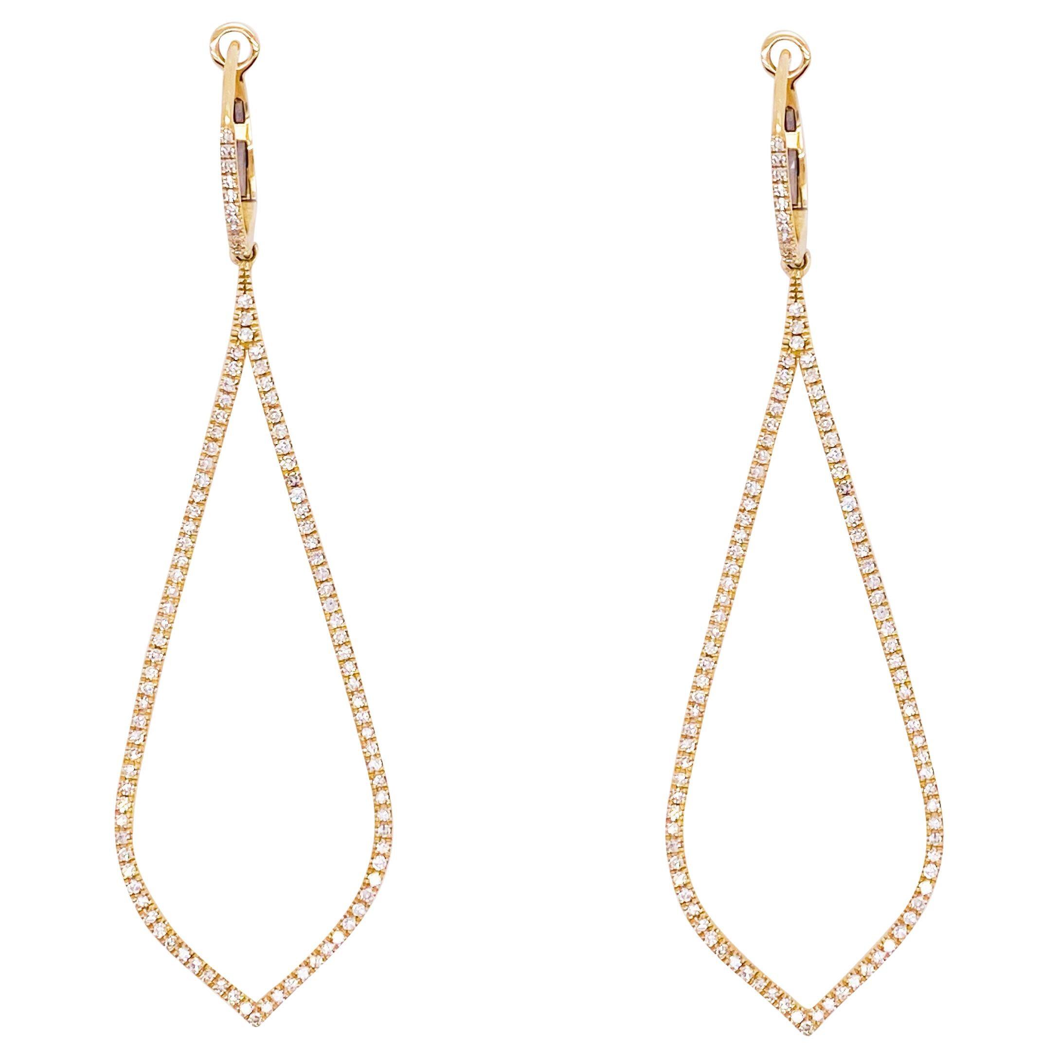 Striking Diamond Earrings, Tear Drop Diamond Shape Wedding Dangle Earrings