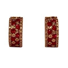 Striking Effy Ruby and Diamond Checkerboard White Gold Pierced Hoop Earrings