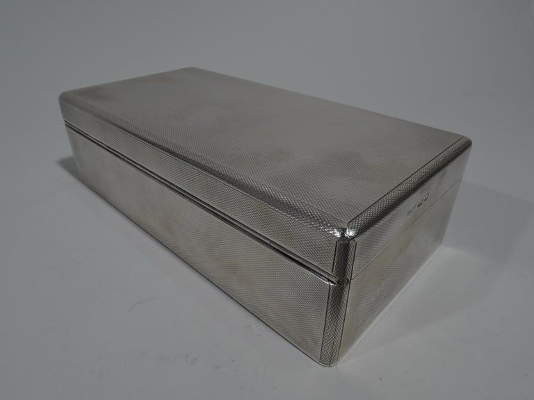 American Striking English Art Deco Modern Sterling Silver Box For Sale