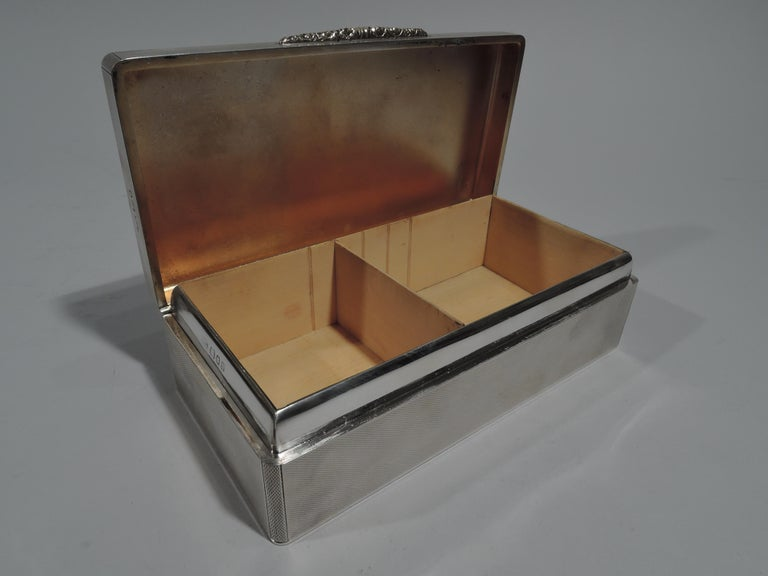 Mid-20th Century Striking English Art Deco Modern Sterling Silver Box For Sale