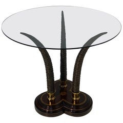 Striking Faux Antler and Tooled Leather Center Table