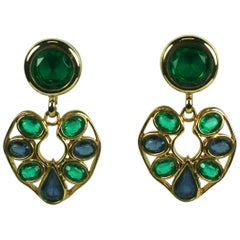 Striking Faux Emerald and Sapphire Ear Clips