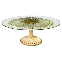 Striking Giltwood and Painted Palm Sculpture Dining or Center Table, Italy, 1970