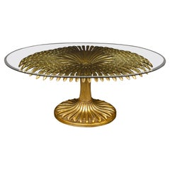 Striking Giltwood Palm Sculpture Dining or Center Table, Italy, 1970