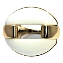 Striking Gold and White Agate Statement Ring