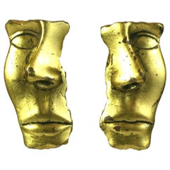 Striking Gold Leaf Face Earrings
