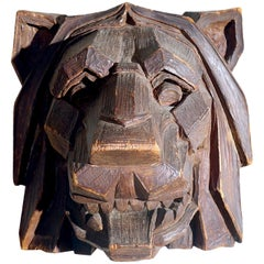 Striking Hand Carved Art Deco Lions Head